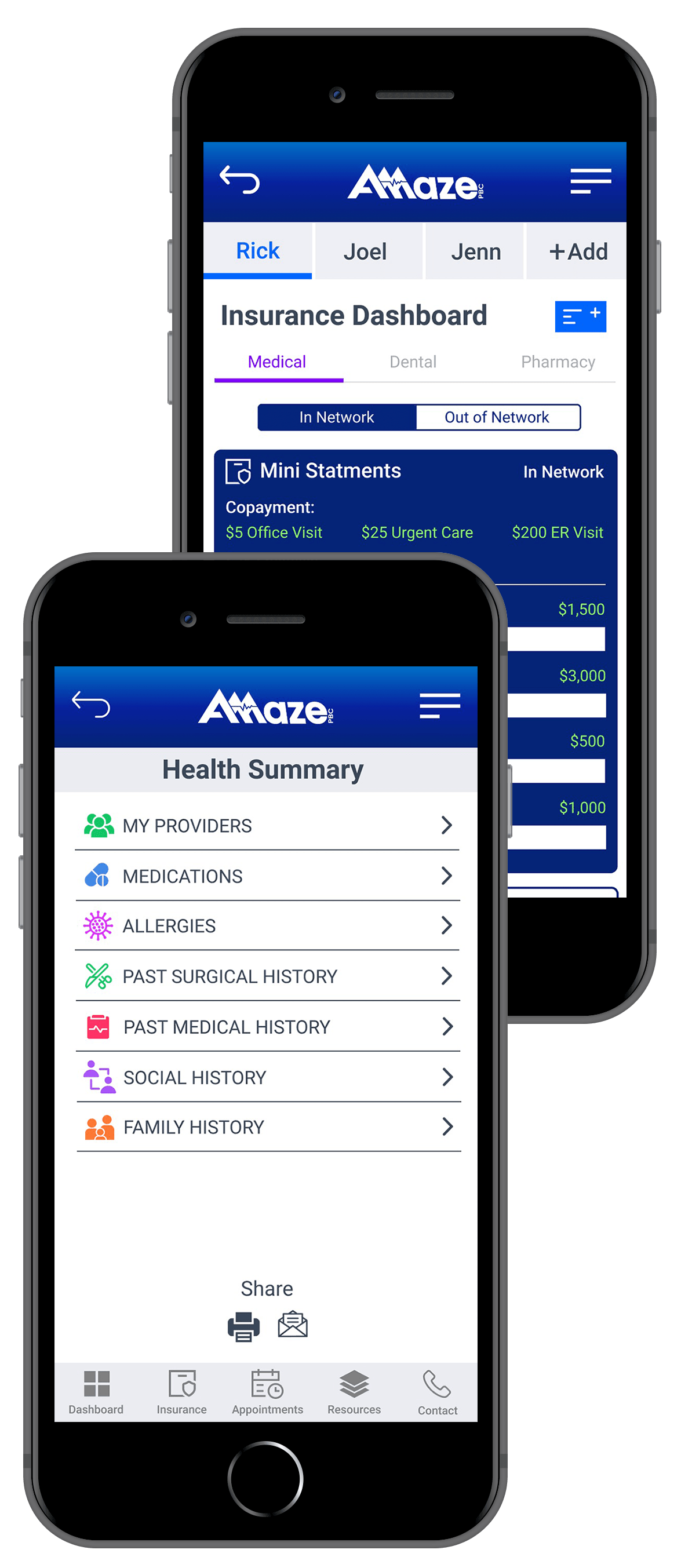 The features of the Amaze Health app