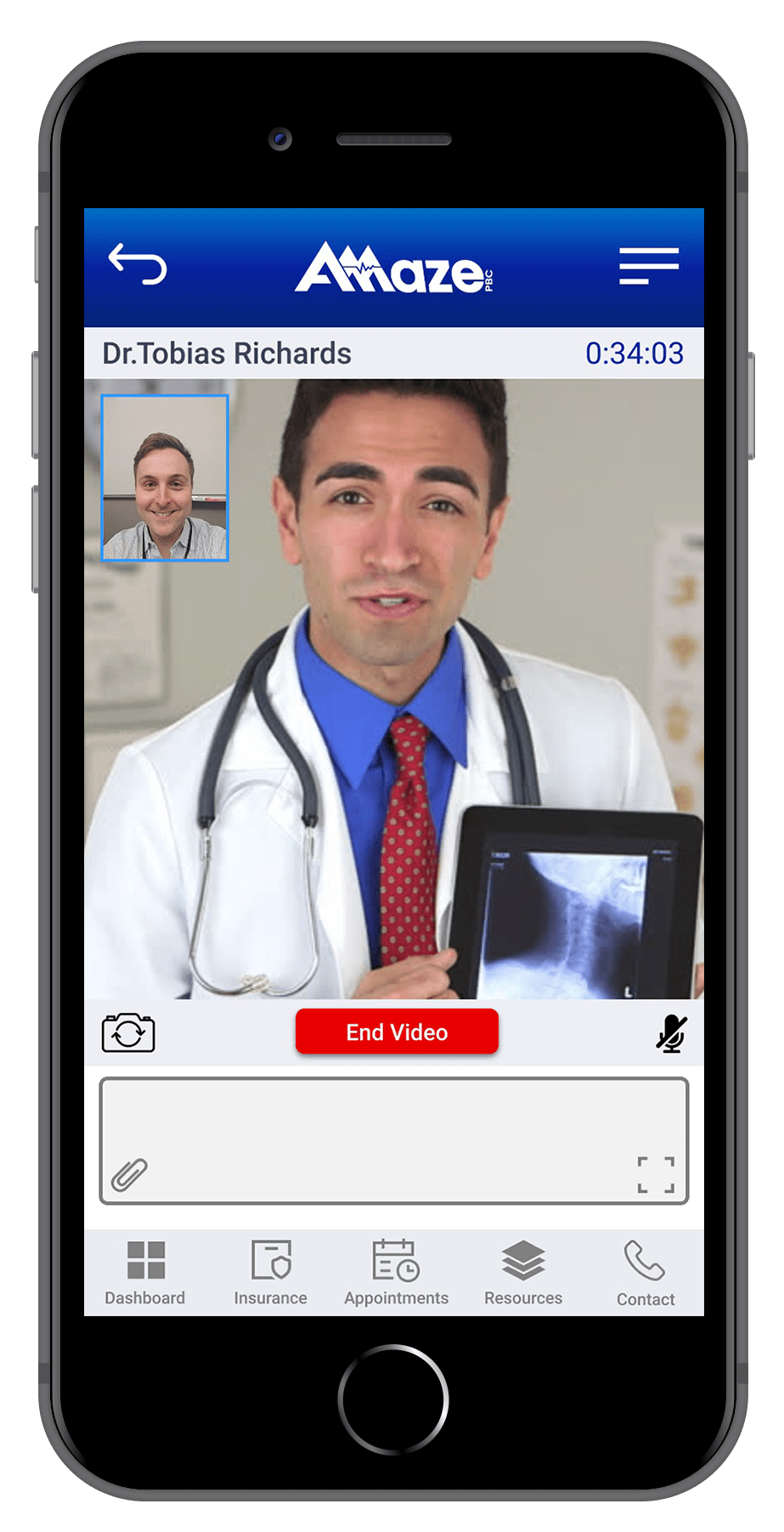 Patient receiving help from a healthcare provider via telemedicine