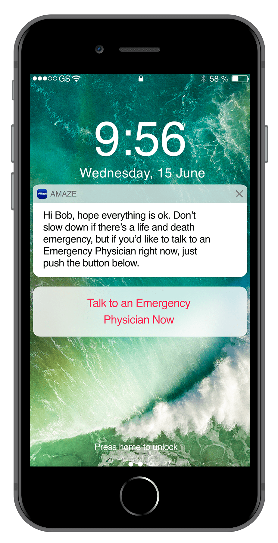 App notification at the ER